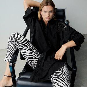 NWT Zara Black Oversized Embroidered Eyelet Shirt